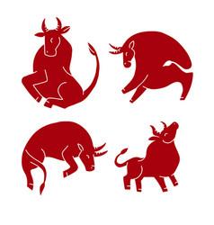 bull set chinere new year symbol - ox stylized vector image