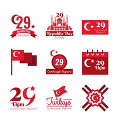 Bundle nine set cumhuriyet bayrami flat style vector