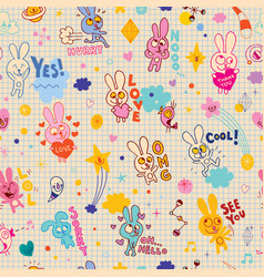 bunnies cartoon seamless pattern vector image