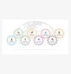 Business infographics timeline with 8 gears vector