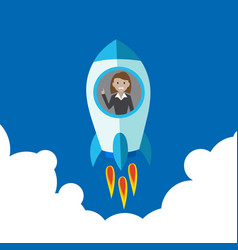 business woman on rocket startup rocket flying in vector image