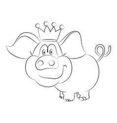 cartoon image of crowned pig vector image