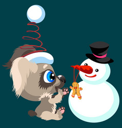 cartoon puppy spending fun time with snowman vector image