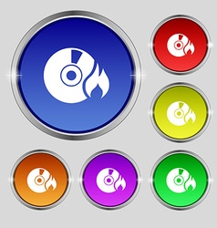 CD icon sign Round symbol on bright colourful vector