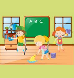 Children help cleaning classroom vector