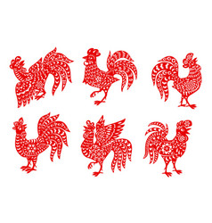 Chinese zodiac rooster or cock icons set vector