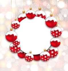 Christmas and Happy New Year Card with Red Snowing vector image