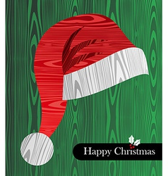 Christmas wooden textured Santa hat shape card vector image