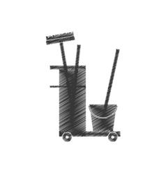 cleaning equipment broom bucket hand car vector image