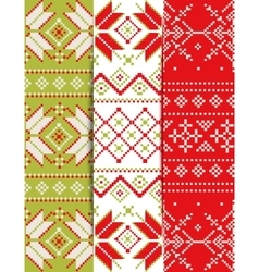Collection of Christmas embroidery pattern vector