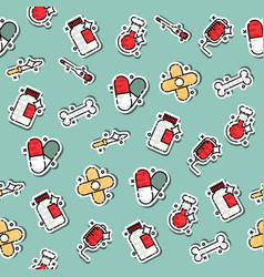 Colored pharmacy concept icons pattern vector