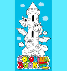 coloring book with dragon 1 vector image