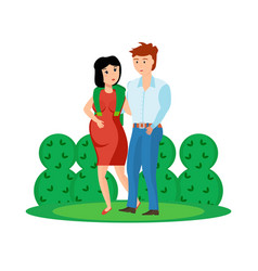 couple is walking in park guy with pregnant girl vector image