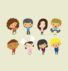 Cute cartoon boys and girls clip art vector image