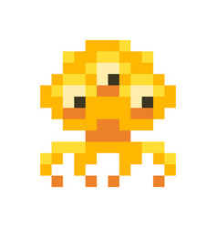 cute orange space invader monster game enemy in vector image