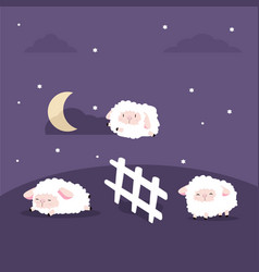 Cute sheeps jumping with fence in night vector