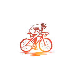 cycling bicycle bike speed sport concept hand vector image