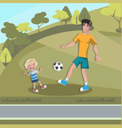 dad and boy playing football vector image