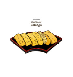 dashimaki tamago japanese rolled omelette hand vector image