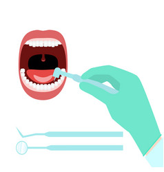 dentist hand open mouth vector image