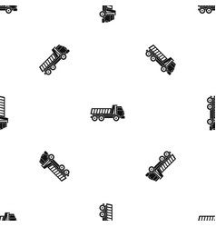 dumper truck pattern seamless black vector image