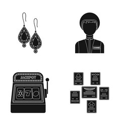 Earrings woman and other web icon in black style vector
