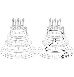 Easy birthday cake maze vector