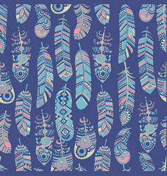 Ethnic feathers pattern tribal background hippie vector