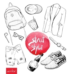 Fashion set trendy look vector