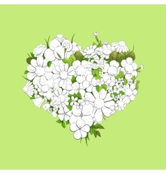 Floral white heart vector image