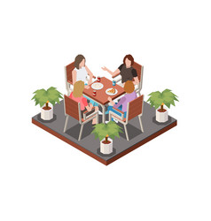 friends meet cafe composition vector image