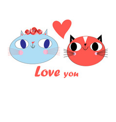 Funny postcard funny loving cats vector