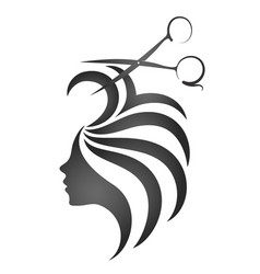 Girl with hair and scissors symbol vector