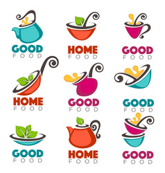 Good home food collection of logo emblems vector