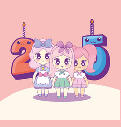 group of cute kawaii girls with numbers candles vector image