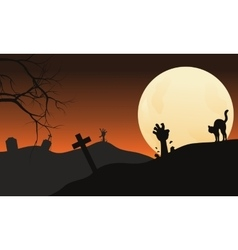 Halloween hand zombie and cat at the night vector