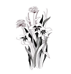 Hand drawn painting with black and white flowers vector