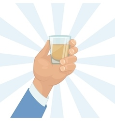 Hand holding a shot of drink vector
