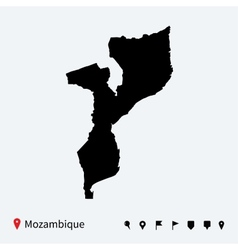 High detailed map of Mozambique with navigation vector