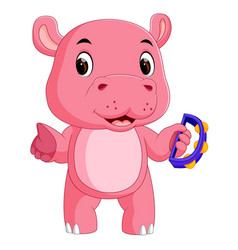 hippo playing instruments tambourine vector image