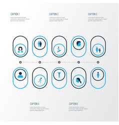 human colorful icons set collection of female vector image