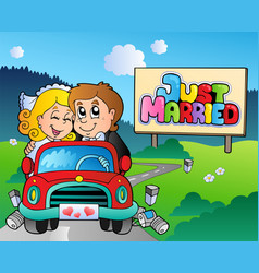Just married couple driving car vector