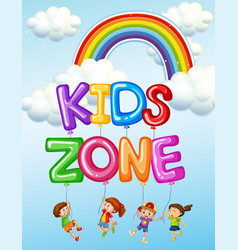 Kids zone text logo vector