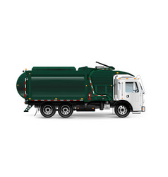 Large and powerful garbage truck in dark green vector