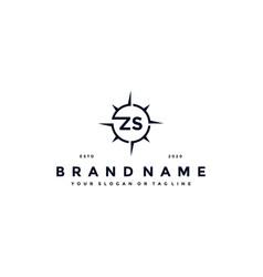 Letter zs compass logo design vector