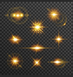 Light flare set in golden color isolated on vector