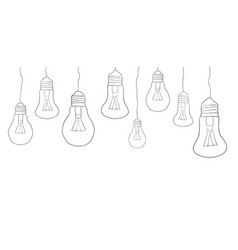 Linear of hanging light bulbs border eleme vector