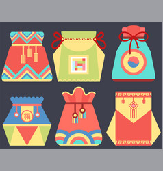 lucky bag chinese tradition and greeting vector image