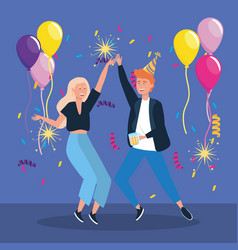 Man and woman dancing with balloons and sparklers vector