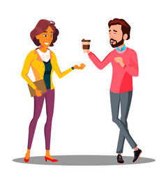 man passes a cup of coffee to woman vector image